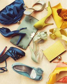 shoes, yellow , blue, mint, silver, burnt orange, clutch purses