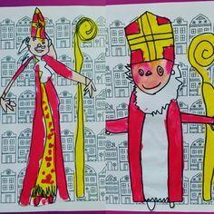 Huisjes achtergrond, Sinterklaas, groep 1 en 2, kleutersinterklazen juf Ester Klaver