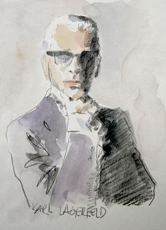 Karl Lagerfeld, retrato en acuarela