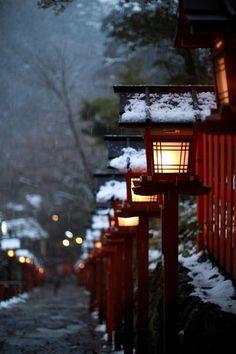 Travel Asian Japan light snow 京都・貴船神社の画像(写真)
