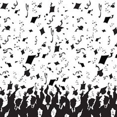 Party Supplies | Graduation | Graduation Decorations...Finally all the work has paid off! You've graduated, and it's time to celebrate! Decorate your graduation party with this backdrop that has graduates throwing their caps in the air.