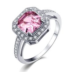 Caperci 5.63TCW Asscher Cut Created Pink Sapphire Engagement Ring in Sterling Silver 925 *** See this awesome image  : Fashion Jewelry