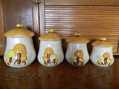 Very retro set of canisters.  Who doesnt like mushrooms?