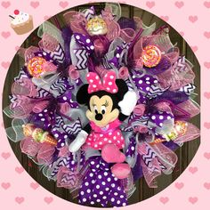 Large #Minnie Mouse Doll Wreath | Purple and Pink Wreath | Minnie Mouse Clubhouse | Baby Girl Gift on Etsy | Door Wreaths By Trina at https://www.etsy.com/listing/473624428/large-minnie-mouse-doll-wreath-purple.