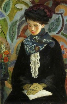 Lady with a Book (1945-1946). Vanessa Bell (English, 1879-1961). Oil on canvas. Bristol Museum and Art Gallery. Vanessa moved to London with her sister Virginia (later Woolf) and brothers, Thoby and Adrian. Their Thursday evening 'At Homes' marked the beginning of the Bloomsbury Group. In 1907 she married Clive Bell. In 1909 she exhibited with the New English Art Club. Her association with Roger Fry led her to embrace a more modern style of painting.