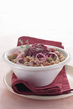 Warm Farro Salad with Cranberry Beans and Red Beet Mousse