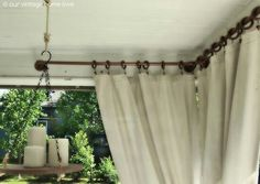 back porch curtains: our vintage home love: Back/Side Porch Ideas For Summer and An Industrial Pipe Curtain Rod How To Diy Outdoor Furniture, Outdoor Rooms, Outdoor Living, Outdoor Decor, Outdoor Curtains For Patio, Outdoor Balcony, Furniture Ideas, Adirondack Furniture, Urban Furniture
