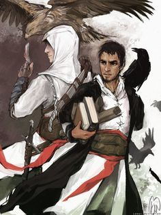 The Master Assassins, I like to think that Altair has a pet Eagle and Malik has a Crow or Raven