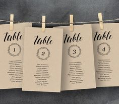 Wedding Seating Chart Template, Seating Plan, Table Card, Editable Template, DIY, Printable, Instant Download, Rustic Kraft Wedding, PDF