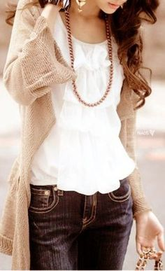 White ruffle top, loose, beige cardigan and dark blue denim pants. I can do something similar with my brown and grey cardigans :)