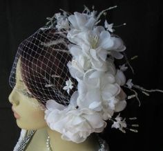 white flower headband fascinator
