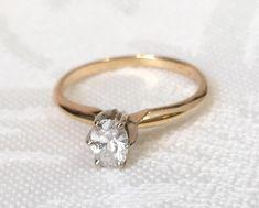 Oval Diamond Engagement Ring, Two Tone 14K Gold Oval Diamond Ring, Solitaire Wedding Ring/Promise Ring by AssociatedDiamonds on Etsy https://www.etsy.com/listing/399346683/oval-diamond-engagement-ring-two-tone