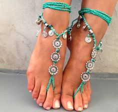 PROMO SALE Barefoot sandals. beaded sandals native by SoftCrystal