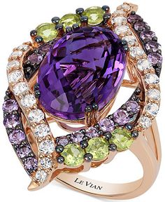 Le Vian Crazies Collection Multi-Stone Ring with a deep purple oval-cut amethyst, freen apple peridots, white topazes and smaller round-cut Cotton Candy amethysts. Crafted in 14k rose gold
