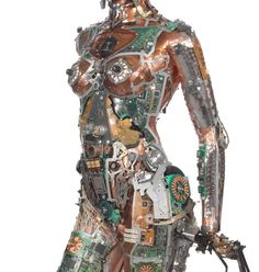 Fembot by artist Gabriel Dishaw. He upcycles trash and creates very interesting sculptures; he's best known for his series of shoes made from tech-scrap metal.