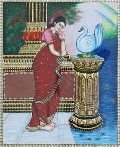 An lady dressed in traditional is standing in her courtyard enjoying the beauty of nature. The natural surroundings including the trees, the swan, the river and the lotus flowers fascinates her. Indian Traditional Paintings, Indian Art Paintings, Traditional Art, Indian Ladies Dress, Madhubani Painting, Indian Artist, Beautiful Paintings, Online Art Gallery, Lovers Art