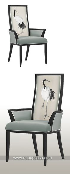 新中式家具 仙鹤餐椅 modern chinese style dinning chair with concept of crane art deco, designed by Tommy Chen and Nupopcasa