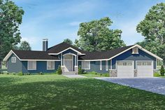 This striking Ranch style home with Country qualities (Plan #108-2018) has 2236 living square feet. The 1-story floor plan includes 2 bedrooms. #ranch #houseplan