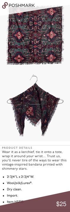 🆕 Madewell Kaleidoscope Star Print Silk Banadana This listing includes a brand new bandana from Madewell.  Dark green with shiny magenta stars. This bandana is such a versatile accessory that effortlessly gives your outfit a stylish edge. Madewell Accessories Scarves & Wraps