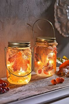 """LED-Glasleuchten """"Herbst"""" Golden autumn in the most beautiful light Whether suspended or set up - these two LED glass lights ring in the fall time. Warm white LEDs put the stylish leaf motif in the sp Mason Jar Lamp, Candle Jars, Candle Holders, Deco Floral, Home Trends, Luz Led, Leaded Glass, Fall Diy, Window Sill"""