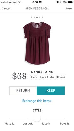 Beautiful burgundy color.  Made of rayon.  Very pretty