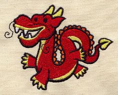 "Too Cute Chinese Dragon design (UT4905) from UrbanThreads.com 3.86""w x 3.07""h 20 May 2013"