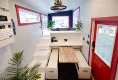 Calliope by Rewild Homes - Tiny Living Blue Cabinets, Upper Cabinets, Copper Vessel Sinks, Composting Toilet, Built In Desk, Tiny Spaces, Tiny House Design, Tiny Living, Granite Countertops