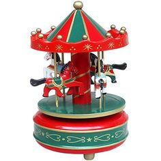 Wooden Merry-Go-Round 4 Horses Rotating Music Box Christmas Birthday Gift Carousel Toy Please note: Greenery US shop provides a 90-day money back Read more http://shopkids.ca/toys-games/kids-funny-wooden-merry-go-round-4-horse-rotate-carousel-music-box-toy-christmas-gift-red/