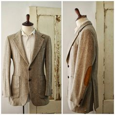 Vintage pure wool jacket with suede elbow patches and leather buttons, union made, 40