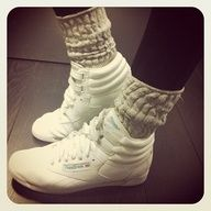 80s reeboks and slouch socks and had them in yellow and pink... I still have the shoes in my closet!