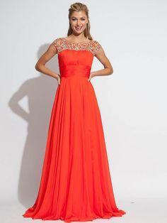 A-line Bateau Sleeveless Chiffon Evening Dresses With Beaded #BK042