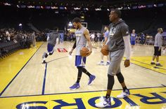 Stephen Curry and Andre Iguodala of the Golden State Warriors practice for the 2017 NBA Finals at ORACLE Arena on May 31 2017 in Oakland California...