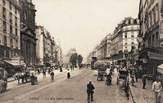 La rue Saint-Antoine vers 1900, en direction de la rue de Rivoli (Paris 4ème)