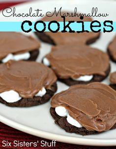 Chocolate Marshmallow Cookies from SixSistersStuff.com #dessert #cakemix