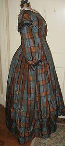CIVIL WAR ERA HAND SEWN BLUE AND BROWN PLAID SILK DRESS