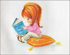 """This little book was given to me by a friend way back in the 60's, I have just come across it! I love the flip flops and the fact that she's reading """"Gone with the wind""""! It's illustrated by Guntra Graudins."""