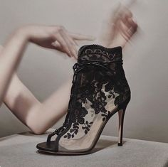 9558b17b0ff1 Don t miss Gianvito Rossi s peach mesh Giada ankle boots on Your Next  Shoes! They are embellished with black lace and floral embroidery