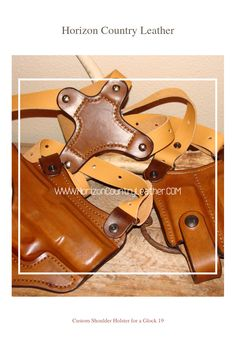 Custom Shoulder Holster for a Glock 19. Tan with Walnut Trim.