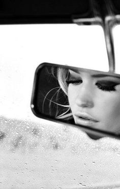 Rear view mirror black and white bw closeup eyes car makeup
