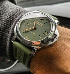 Panerai on Green OEM Rubber Strap. Such a nice combo! Photo by - Female & Beauty Watches Rolex, Old Watches, Swiss Army Watches, Fine Watches, Sport Watches, Wrist Watches, Best Looking Watches, Best Watches For Men, Luxury Watches For Men