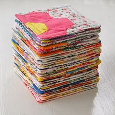 mini coasters made from cut-up quilts