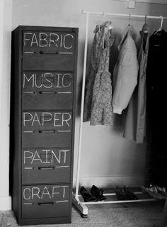 Chalkboard paint label file cabinet