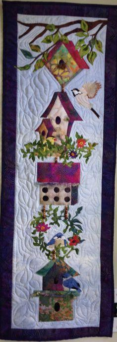 Bird on Stick mini wall hanging quilt pattern birdhouse