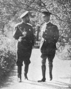 "Tsar Nicholas II of Russia and Brigadier-General Wallscourt Waters in September 1916. ""AL"""