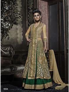 #Designer Lehenga Choli#Beige & Green #Indian Wear#Desi Fashion #Natasha Couture #Indian Ethnic Wear #Bridal Wear #Wedding Wear