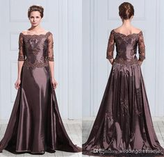 Wholesale Mother of the Bride Dress - Buy Latest Design Taffeta Half Sleeves Appliqued Lace Flowers A-line Mother Bride Dress Jewel Neck Evening Gown, $109.15 | DHgate