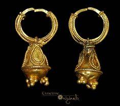 Graeco-Scythian 'Granulated' Pair of Earrings Gold. 6th-1st century BC. A matched pair of Graeco-Scythian earrings.