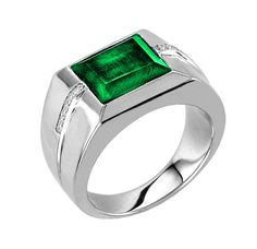 Men's Emerald Ring In Sterling Silver with Genuine by NaomisCo2