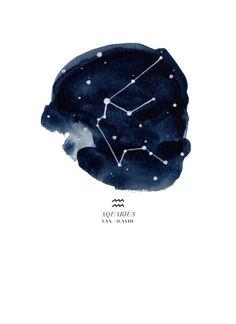 Zodiac Constellation - Aquarius Art Print