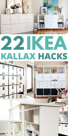 22 of the Best IKEA Kallax hacks for your bedroom, kitchen, and entryway. These mid century KALLAX hacks are great for your TV stands, bench top, desk, and office table. #ikeakallax #kallaxhacks #ikeahacks Ikea Hack Storage, Ikea Kallax Hack, Ikea Hacks, Bedroom Hacks, Ikea Bedroom, Kallax Shelving, Ikea Decor, Best Ikea, Home Decor Hacks